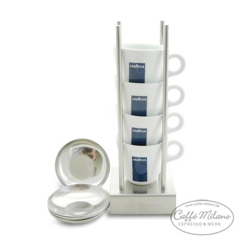Bauhaus-Manufaktur Tassenständer + 4 Lavazza Espresso Tassen
