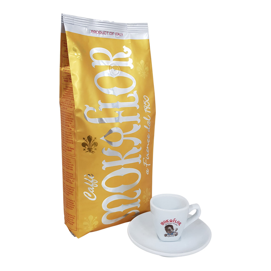 Mokaflor Espresso Oro, 1000g + Espresso Tasse