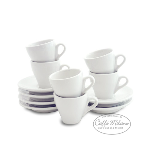 espresso tasse wei mit unterteller 6 st ck caffe milano. Black Bedroom Furniture Sets. Home Design Ideas
